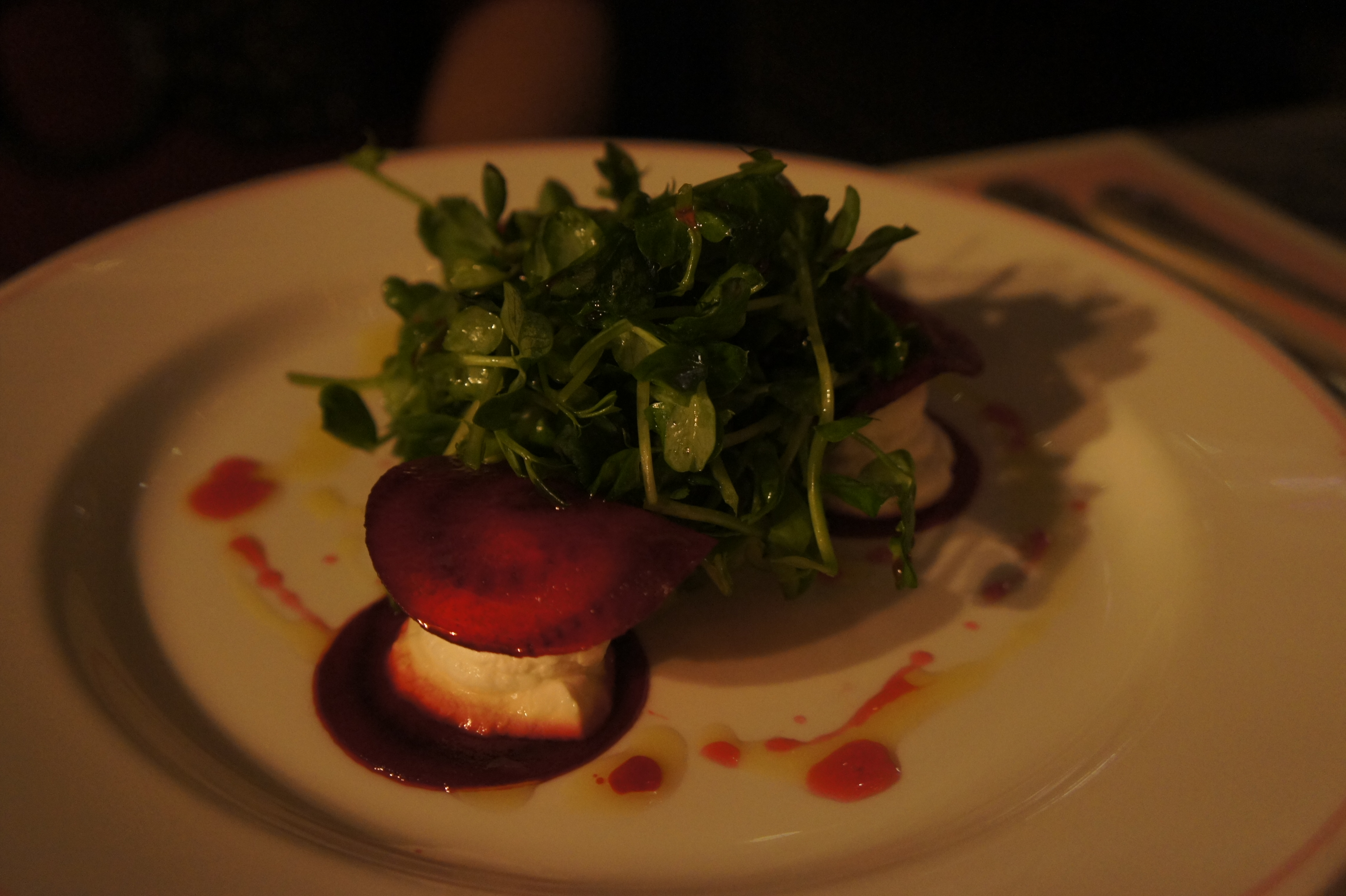 Wafer Thin Beetroot and Goat's Cheese Salad with Broadbeans and Mint